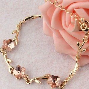 Crystal Flower/Vine Rose Gold Adjustable Bracelet